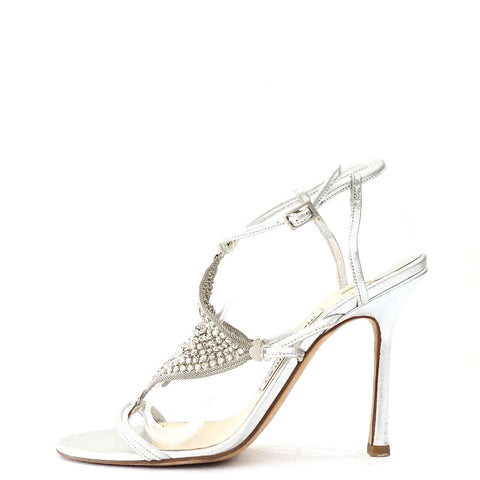 Jimmy Choo Silver Evening Sandals 38
