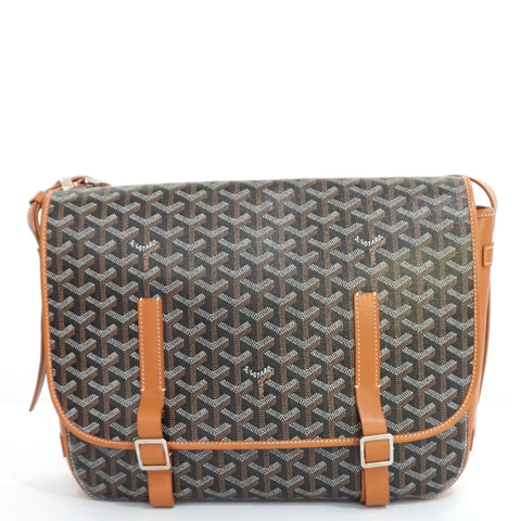 Goyard Black and Tan Goyardine Belvedere MM