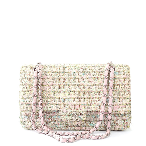 Chanel Pink Light Green Tweed Flapbag SHW