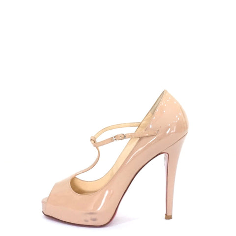 Christian Louboutin Nude Mary Jane Pumps 37