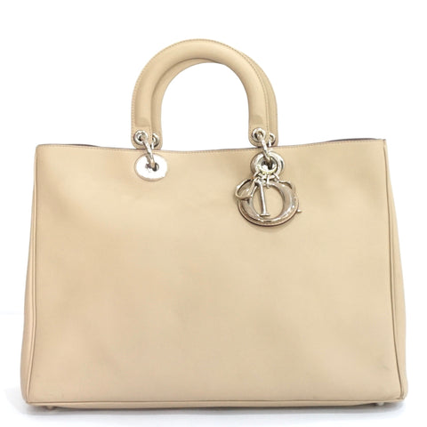 Christian Dior Neutral Smooth Calfskin Large Diorissimo Bag