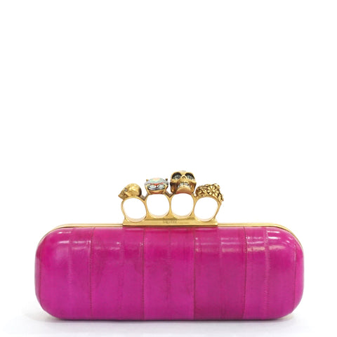 Alexander McQueen Fuschia Knuckle Clutch