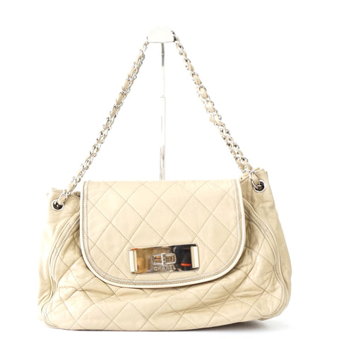 Chanel Beige Quilted East West bag