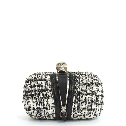 Alexander McQueen Black and White Tweed Knuckle Clutch