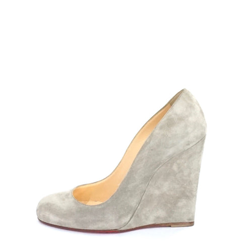 Christian Louboutin Grey Suede Wedges 36