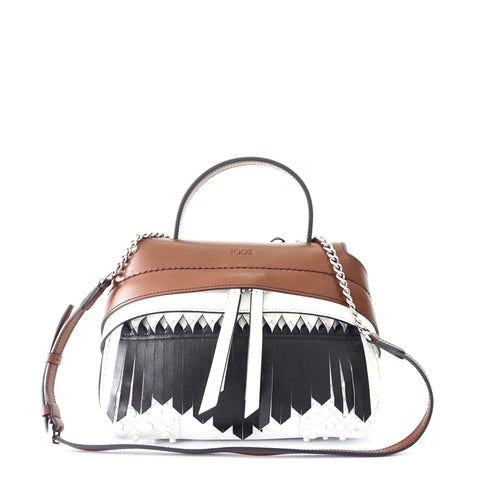 Tods Small Wave Brown Fringe Leather Bag