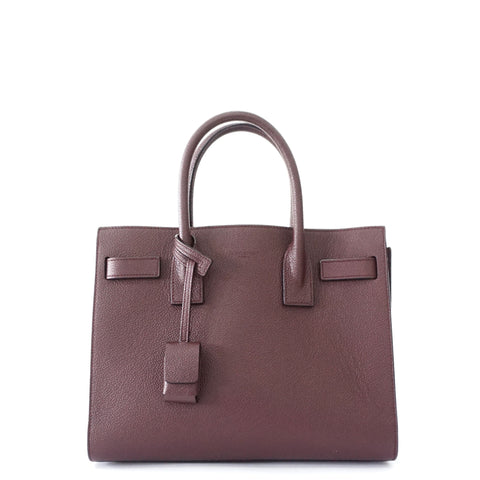 Saint Laurent Maroon Grained Leather Small Sac De Jour