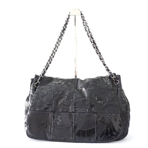 Chanel Black Patent-Lamb Leather Rock Bag