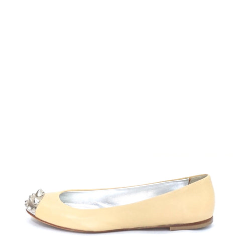 Giusseoe Zanotti Nude Leather Flat Shoes 36.5