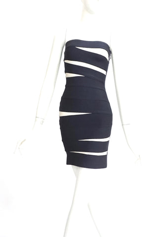 Herve Leger Blue Night and White Tube Knit Dress