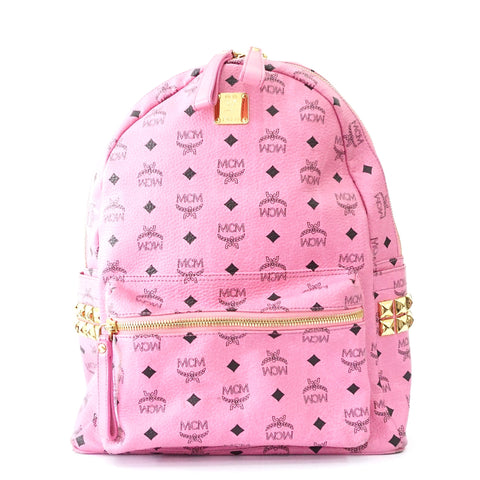 MCM Pink Stark Coated Backpack with Laptop Holder