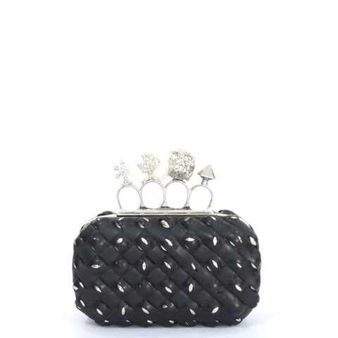 Alexander McQueen Black Leather Woven Charm Knuckle Skull Clutch
