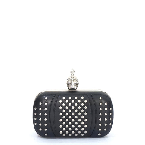 Alexander McQueen Skull Studded Small Black Leather Clutch