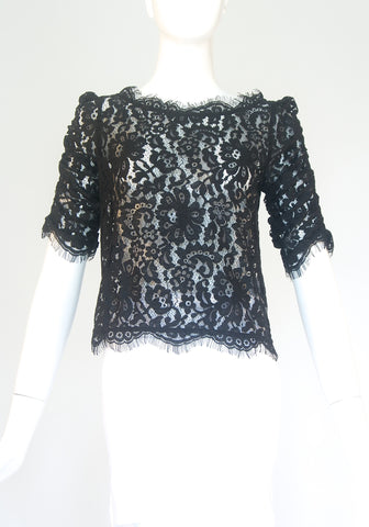 Joie Black Lace Cropped top (Size XS)