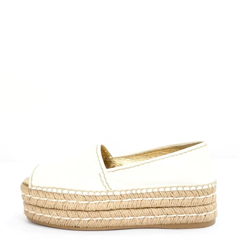 Prada White Leather Peep-toe Platform Espadrilles 35.5