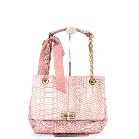 Lanvin Pink Happy Medium Python Shoulder Bag