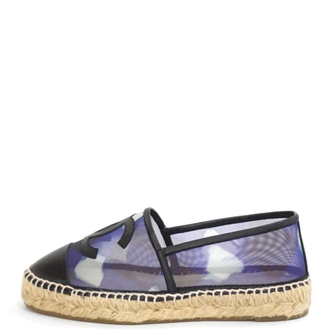 Chanel Blue Mesh and Black Lambskin CC Espadrilles 36