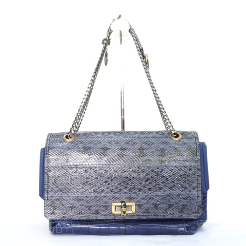 Lanvin Blue Happy Croc-effect Leather and Elaphe Shoulder Bag