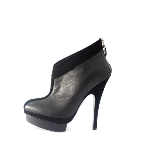 YSL Black Suede And Leather Ankle Boots 35.5