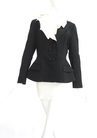 Louis Vuitton Black Blazer with Ruffles 40
