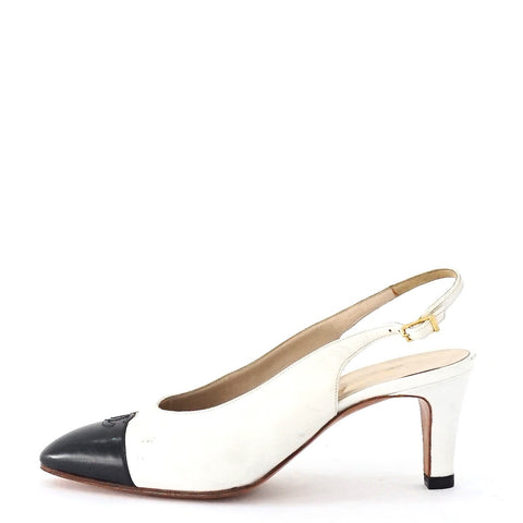 Chanel White Black Vintage Slingback Shoes 38.5