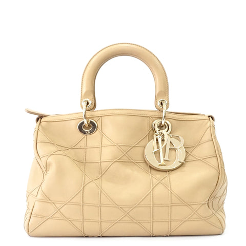 Christian Dior Beige Boston Bag