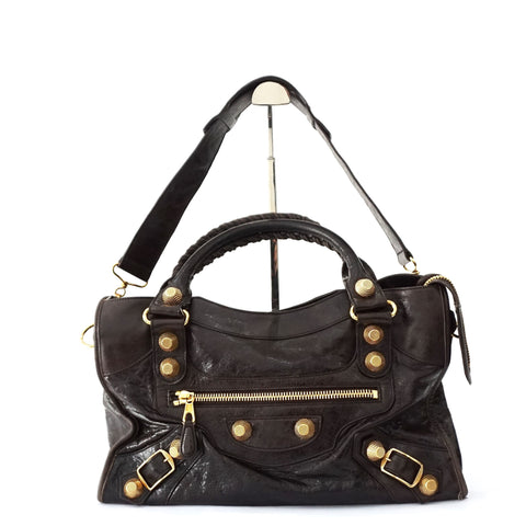 Balenciaga Dark Brown Giant Gold Hardware City Bag