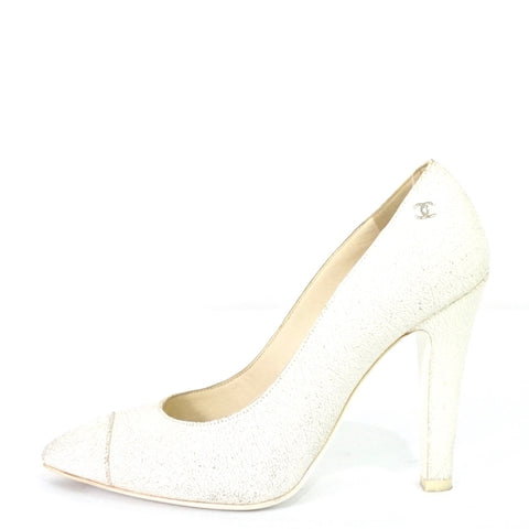 Chanel White Cracked Leather Pumps 38C