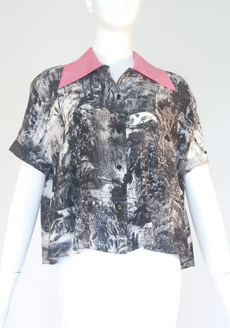 Carven Pink Collar Printed Button Down Shirt (Size XS/36)