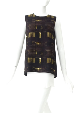Prada Black Olive Prints Sleeveless Tops 38