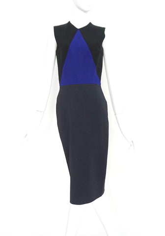 Victoria Beckham Black and Blue Midi Dress US 6