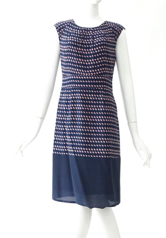 Tory Burch Blue Pink Geometric Printed Sleeveless Dress 2