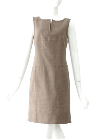 Tory Burch Greyish Brown Wool Laine Sleeveless Dress 2