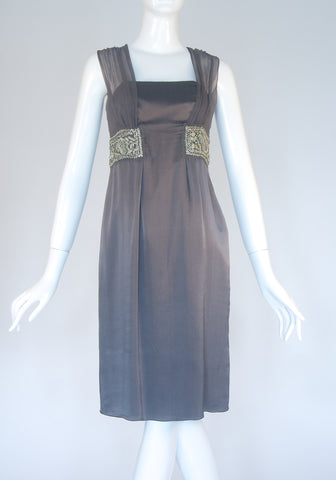 Philosophy by Alberta Feretti Gray Silk Cocktail Dress (Size M)