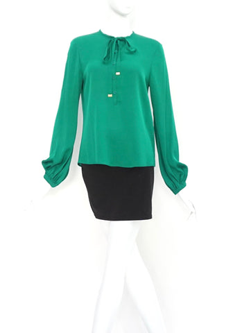 Diane Von Furstenberg Green Silk Top 6