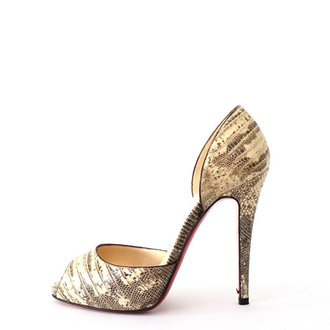 Christian Louboutin White Gris Lizard Peep Toe Shoes 36
