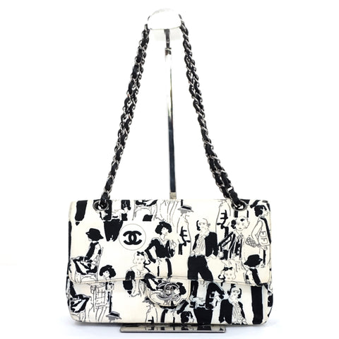 Chanel Black and White Printed Canvas Flapbag