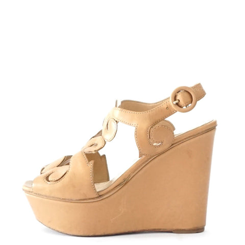 Prada Beige Leather Wedge 36