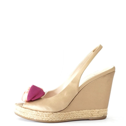 Prada Gold Satin Wedge Sandals 37