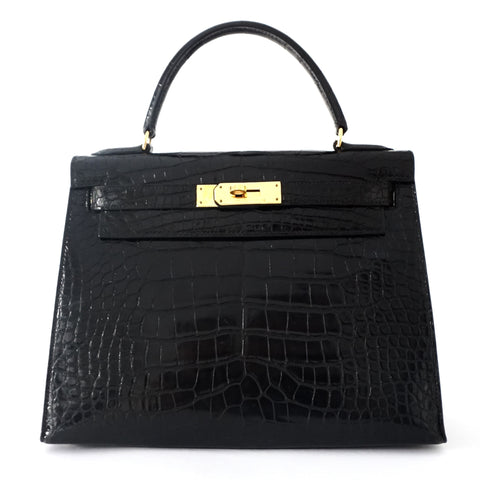PRICE BY REQUEST Hermes kelly 28 Black Alligator GHW