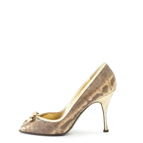 Dolce & Gabbana Gold Lizard Bow Peeptoe Pumps 38