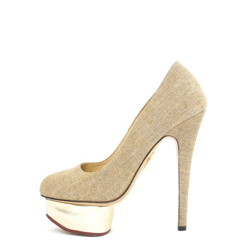 Charlotte Olympia Beige Linen Dolly Pumps 36.6