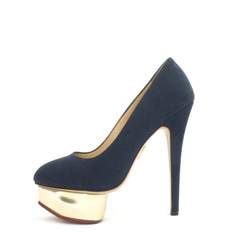 Charlotte Olympia Blue Linen Dolly Pumps 36.5