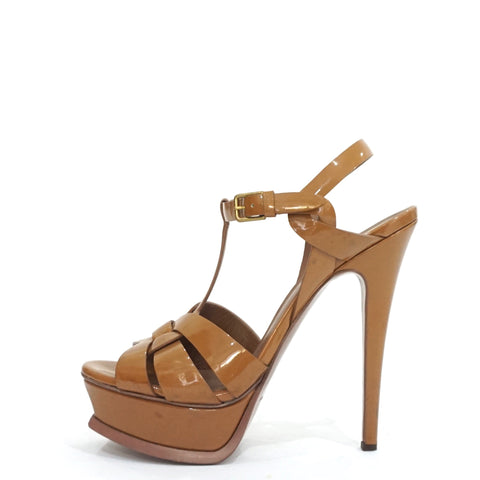 YSL Brown Patent Tribute Sandals 36.5