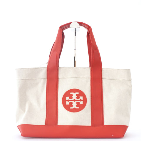 Tory Burch Tote Bag Canvas with Red Lining