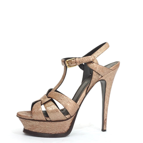YSL Bronze Textured Leather Tribute Sandals 37.5