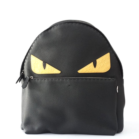 Fendi Monster Black Leather Backpack