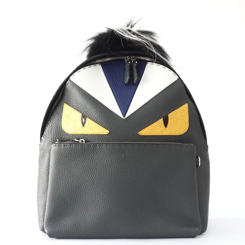 Fendi Monster Grey and Black Leather Backpack