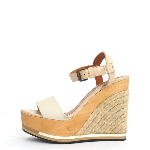 Lanvin White and Blush Espadrille Wedges 37