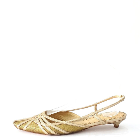 Bottega Veneta Gold Pointy Sandals 36.5